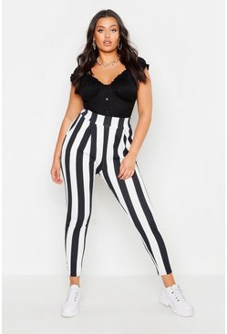 Womens Black Plus Pleat Front Striped Trouser