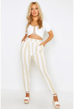 Womens Stone Plus Pleat Front Striped Trouser