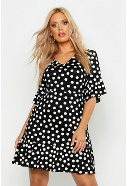 Womens Black Plus Polka Dot Ruffle Smock Dress
