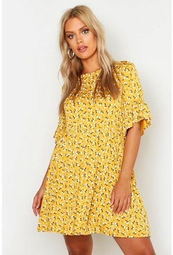 Womens Mustard Plus Ditsy Floral Smock Dress