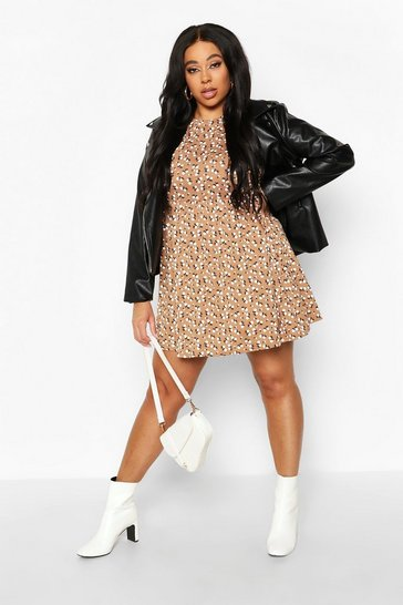 Tan Plus Ditsy Floral Smock Dress