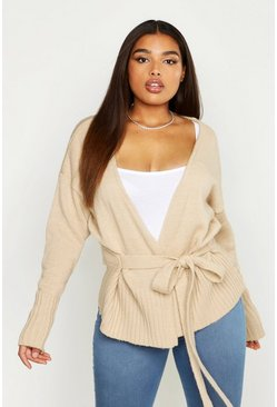 Womens Stone Plus Wrap Detail Peplum Cardigan