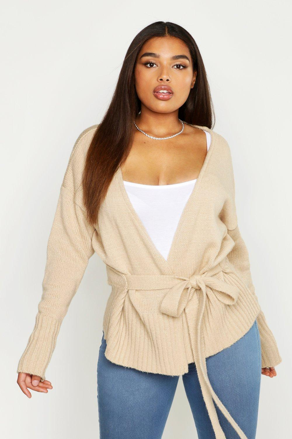 Plus Wrap Detail Peplum Cardigan by Boohoo