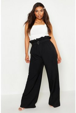 Womens Black Plus belted Woven Paperbag Wide Leg Trouser