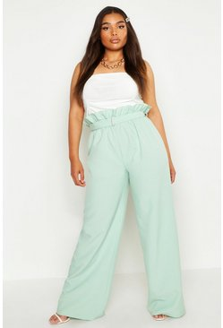 Womens Sage Plus belted Woven Paperbag Wide Leg Trouser