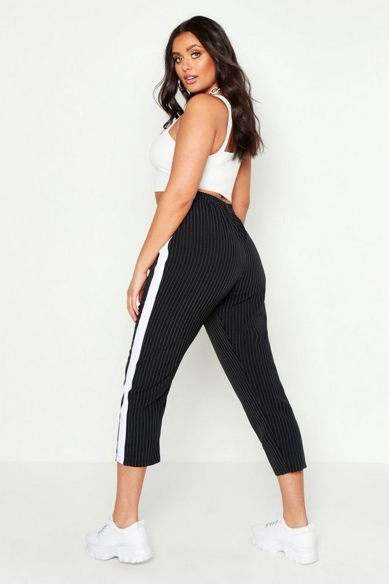 Womens Black Plus Side Stripe Cigarette Trouser