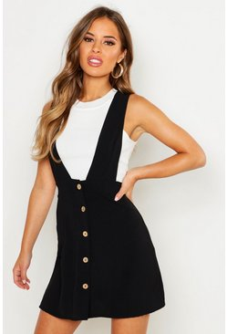 Womens Black Petite Plunge Front Button Pinafore Dress