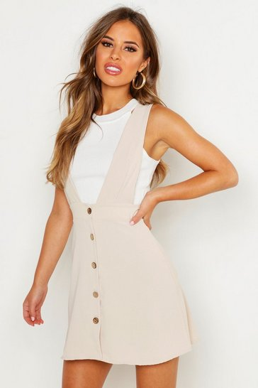 Womens Stone Petite Plunge Front Button Pinafore Dress