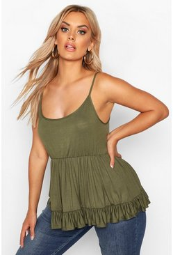 Khaki Plus Strappy Smock Tiered Cami