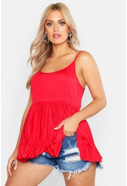 Red Plus Strappy Smock Tiered Cami