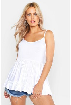 Womens White Plus Strappy Smock Tiered Cami