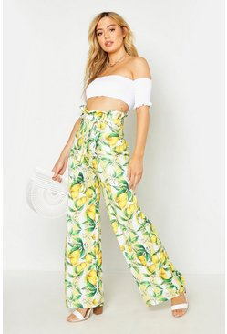 Womens White Petite Lemon Print Wide Leg Trousers