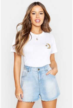Womens White Petite Moon & Star Pocket Print T-Shirt