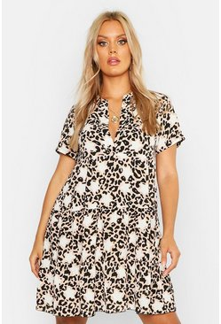 Womens Stone Plus Star Leopard Short Sleeve Tiered Smock Dress