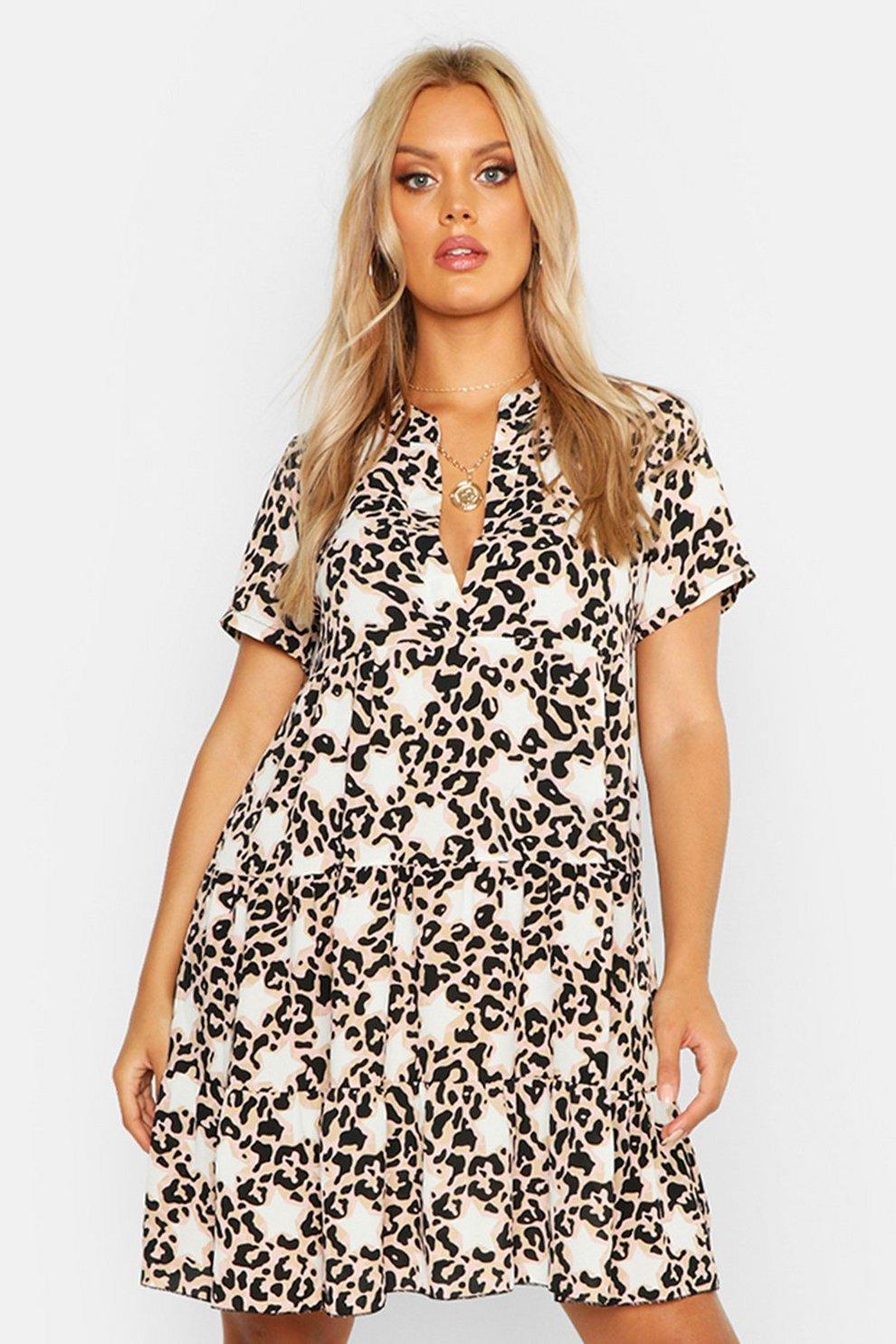 54c70b5d0ff5 Plus Star Leopard Short Sleeve Tiered Smock Dress | Boohoo