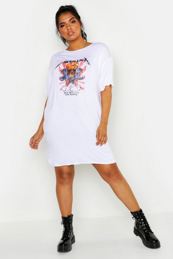Womens White Plus Metallica Licensed T-Shirt Dress