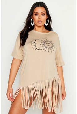 Womens Stone Plus Sun And Moon Tassel Beach Dress