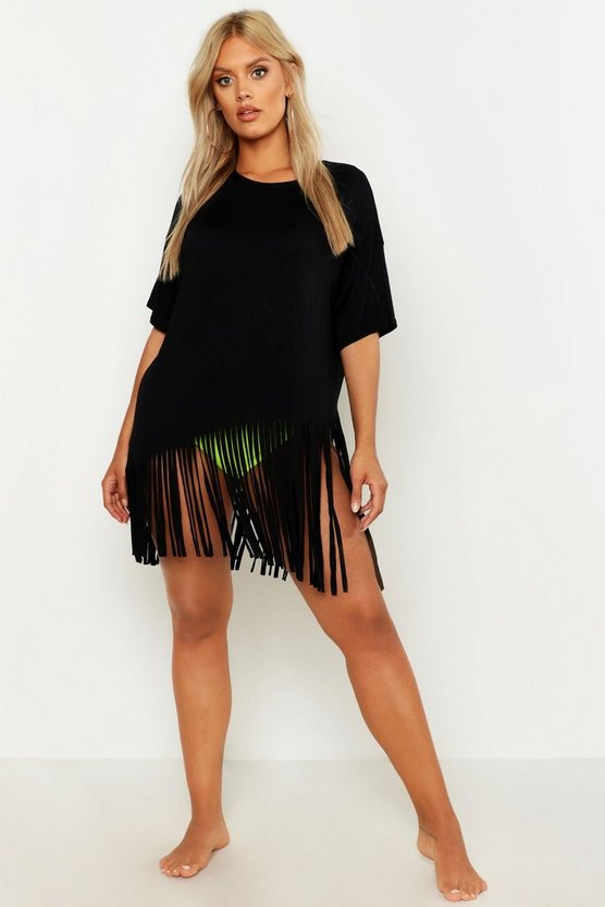 Womens Black Plus Tassel Beach Dress