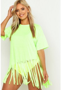Womens Neon-lime Plus Tassel Beach Dress