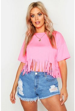Womens Neon-pink Plus Tassel Beach Top