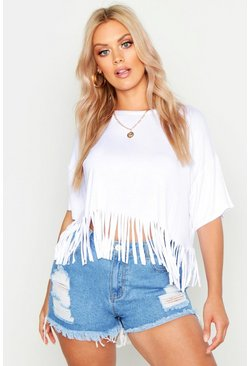 Womens White Plus Tassel Beach Top