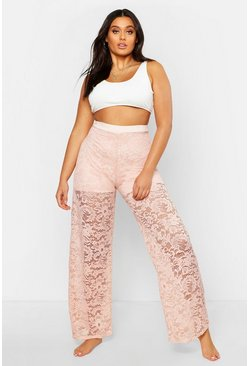Womens Blush Plus Lace Wide Leg Beach Trousers