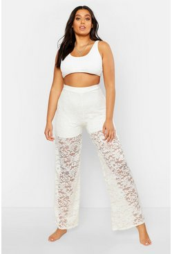 Womens Ivory Plus Lace Wide Leg Beach Trousers