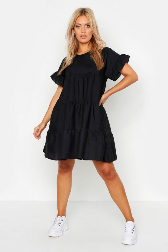 Womens Black Plus Tiered Polycotton Smock Dress