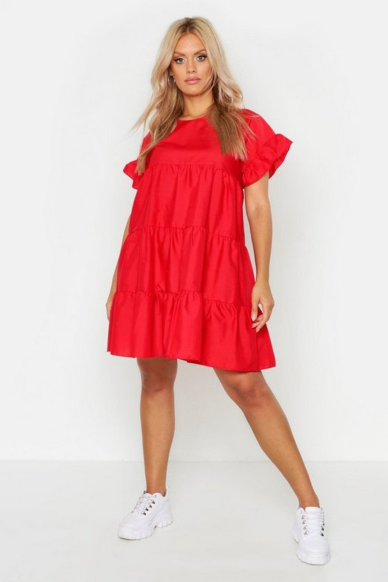Womens Red Plus Tiered Polycotton Smock Dress