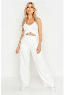 Womens Ivory Plus High Waisted Woven Wide Leg Pants