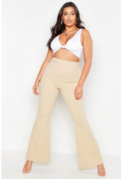 Taupe Plus Sculpting High Waisted Flared Trousers