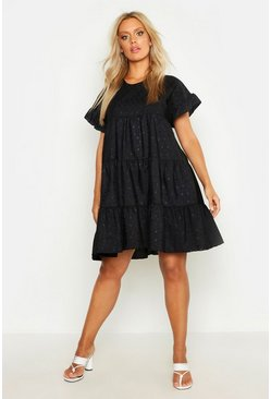 Womens Black Plus Broderie Anglaise Smock Dress