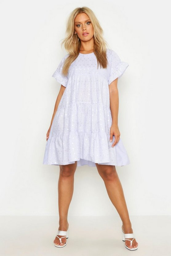 Lilac Plus Broderie Anglaise Smock Dress