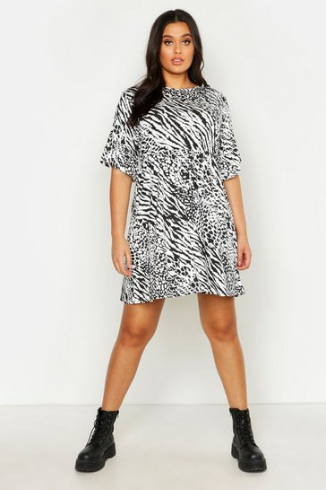 Womens Black Plus Animal Print Smock Dress