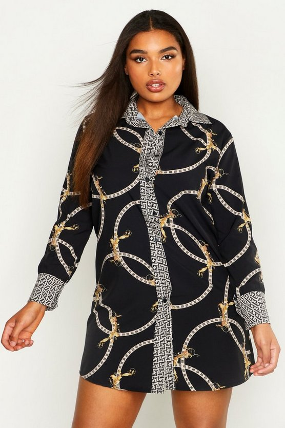 Womens Black Plus Geo Contrast Geo Chain Print Shirt Dress