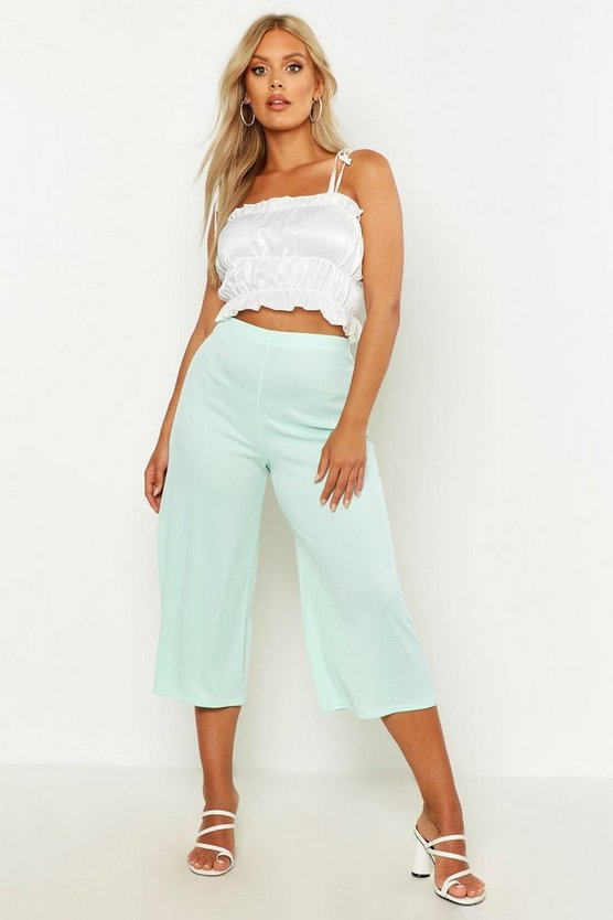Womens Mint Plus Ribbed Culotte Trouser