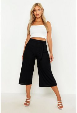 Womens Black Plus Rib Self Fabric Belted Culottes