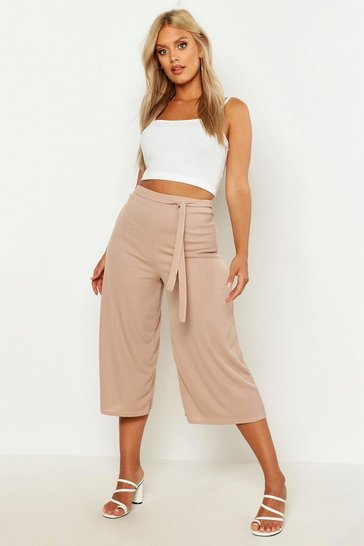 Womens Stone Plus Rib Self Fabric Belted Culottes