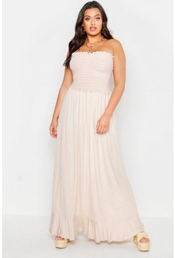 Womens Stone Plus Sheering Bandeau Maxi Dress