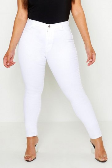 Womens White Plus Super High Waisted Stretch Skinny Jeans