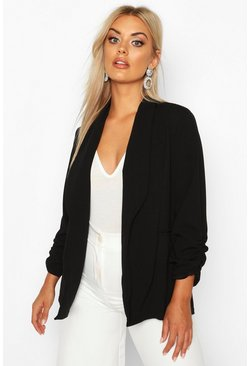 Womens Black Plus Lapel Detail Ruched Blazer