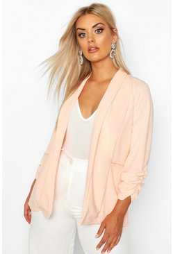 Blush Plus Lapel Detail Ruched Blazer