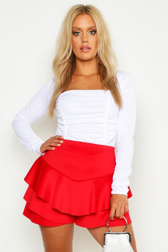 Red Plus Ruffle Skort