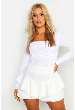 White Plus Ruffle Skort
