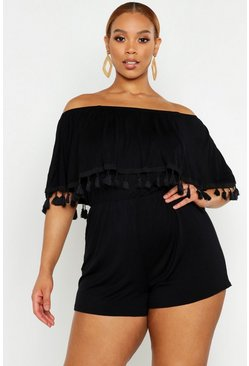 Womens Black Plus Bardot Off The Shoulder Frill Jersey Playsuit