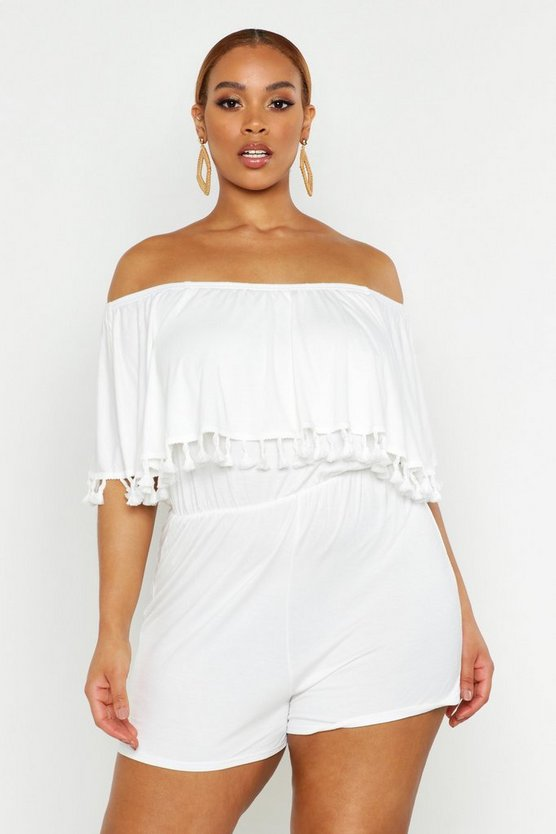 Womens Ivory Plus Bardot Off The Shoulder Frill Jersey Playsuit