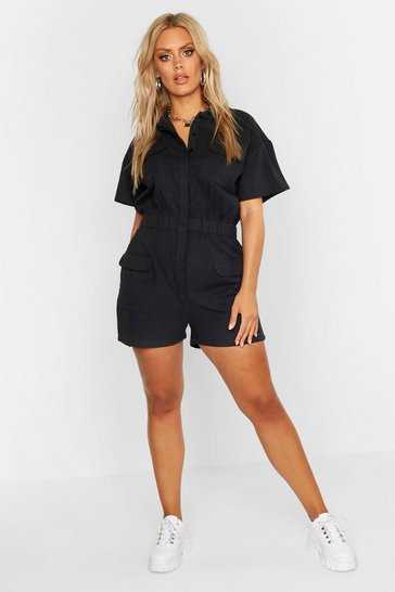 Womens Black Plus Twill Short Sleeve Playsuit