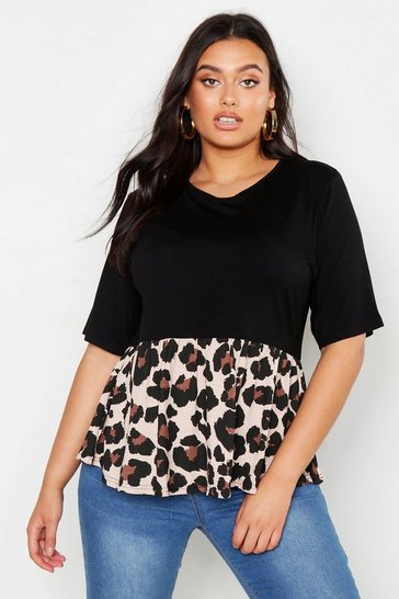 Womens Black Plus Contrast Leopard Smock Top