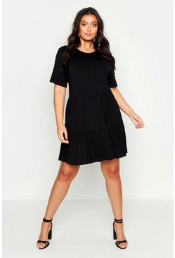 Womens Black Plus Tiered Basic Smock Dress