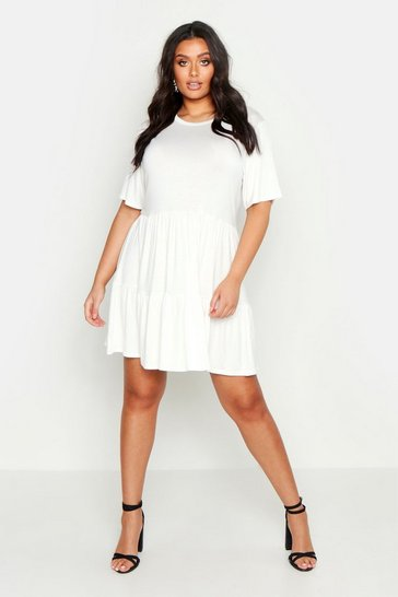 Womens White Plus Tiered Basic Smock Dress